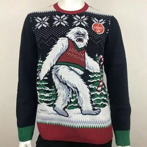Ugly Christmas Sweater YETI Abominable Snowman Lrg
